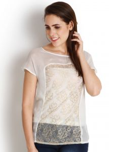 "Soie Casual Short Sleeve Self Design Women""s Top(product Code)_5432off White_"