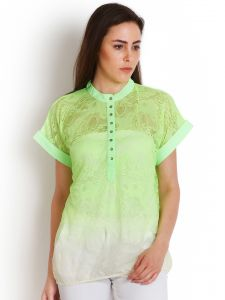 "Soie Casual Short Sleeve Solid Women""s Top(product Code)_5433green_"