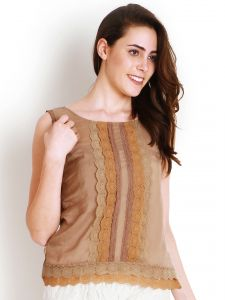 "Avsar,Soie,Platinum,Diya Women's Clothing - Soie Casual Sleeveless Solid Women""s Top(Product Code)_5439Beige_"