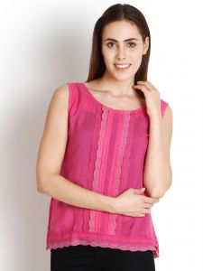 "Soie,Port,Ag,Asmi Women's Clothing - Soie Casual Sleeveless Solid Women""s Top(Product Code)_5439D.Pink_"