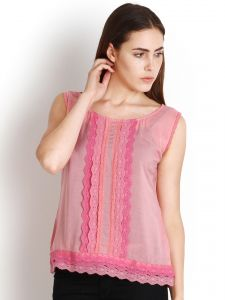 "Jagdamba,Surat Diamonds,Valentine,Jharjhar,Asmi,Soie,Lime Women's Clothing - Soie Casual Sleeveless Self Design Women""s Top(Product Code)_5439L.Pink_"