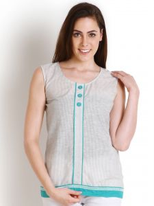 "Jagdamba,Surat Diamonds,Valentine,Jharjhar,Asmi,Soie,Lime Women's Clothing - Soie Casual Sleeveless Striped Women""s Blue Top(Product Code)_5441Grey_"