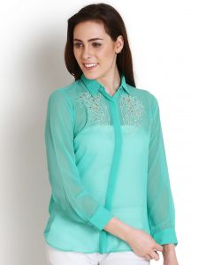 "Vipul,Pick Pocket,Kaamastra,Soie,Unimod Women's Clothing - Soie Casual Full Sleeve Solid Women""s Top(Product Code)_5442Green_"