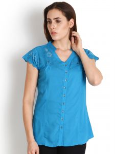 "Soie Casual Short Sleeve Solid Women""s Top(product Code)_5445blue_"