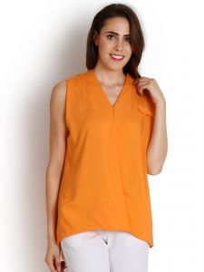 "Soie Casual Sleeveless Solid Women""s Top(product Code)_5450orange_"