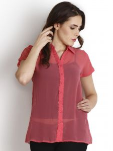 "Soie Casual Short Sleeve Solid Women""s Top(product Code)_5452pink_"
