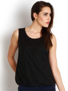 "Soie Casual Sleeveless Solid Women""s Top(product Code)_5459black_"