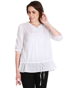 "Soie Casual 3/4 Sleeve Solid Women""s Top(product Code)_5469white_"
