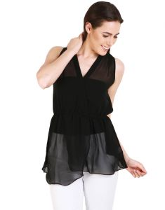 "Soie Women's Clothing - Soie Casual Sleeveless Solid Women""s Top(Product Code)_5474Black_"