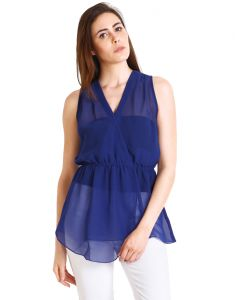 "Soie Casual Sleeveless Solid Women""s Top(product Code)_5474blue_"