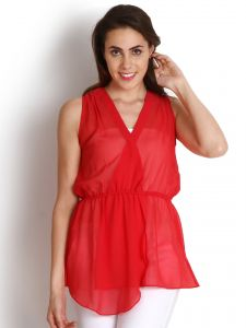 "Soie Casual Sleeveless Solid Women""s Top(product Code)_5474red_"