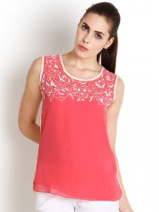 "Soie Casual Sleeveless Solid Women""s Top(product Code)_5478pink+offwhite_"