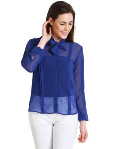 "Soie,Unimod Women's Clothing - Soie Casual Full Sleeve Solid Women""s Top(Product Code)_5480Blue_"