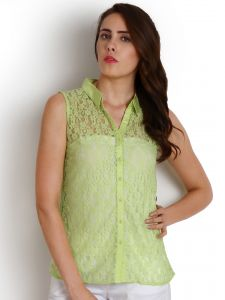 "soie Tops & Tunics - Soie Casual Sleeveless Solid Women""s Top(Product Code)_5481Green_"