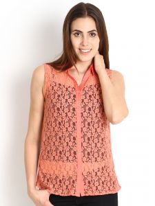 "Soie Casual Sleeveless Solid Women""s Top(product Code)_5481orange_"