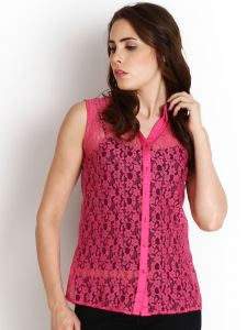 "Lime,Surat Tex,Soie,Avsar,Unimod,Kalazone,Sangini Women's Clothing - Soie Casual Sleeveless Solid Women""s Top(Product Code)_5481Pink_"
