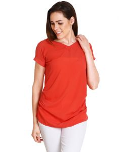 "Soie Casual Short Sleeve Solid Women""s Pink Top(product Code)_5483rose_"