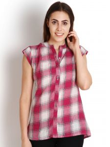"Soie Casual Short Sleeve Checkered Women""s Top(product Code)_5494pink_"