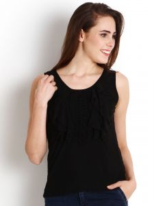 "Soie Casual Sleeveless Solid Women""s Top(product Code)_5499black_"