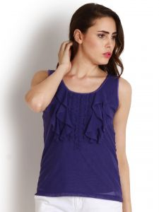 "Soie Casual Sleeveless Solid Women""s Top(product Code)_5499purple_"