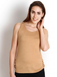 "Soie Casual Sleeveless Solid Women""s Top(product Code)_5500beige_"