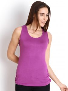 "Kiara,La Intimo,Soie,Surat Tex Women's Clothing - Soie Casual Sleeveless Solid Women""s Top(Product Code)_5500Purple_"
