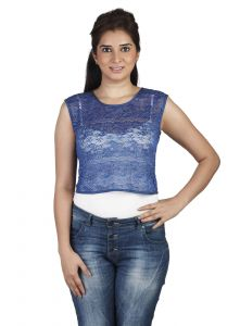 "Soie Casual Sleeveless Embroidered Women""s Top(product Code)_5501d.blue_"