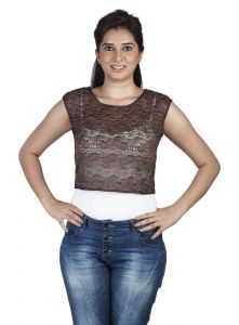 "Pick Pocket,Parineeta,Arpera,Soie,See More,Surat Diamonds,Jagdamba Women's Clothing - Soie Casual Women""s Top(Product Code)_5501D.Brown_"