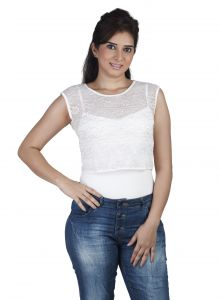 "Triveni,Lime,La Intimo,The Jewelbox,Cloe,Pick Pocket,Surat Tex,Soie,Kaara Women's Clothing - Soie Casual Women""s Top(Product Code)_5501Off White_"