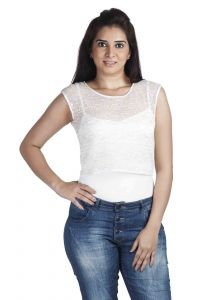 "Soie Casual Sleeveless Embroidered Women""s Top(product Code)_5501white_"