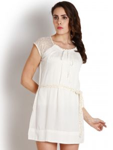 "Surat Tex,Soie,Jagdamba,Sangini,Arpera Women's Clothing - Soie Women""s A-Line White Dress(Product Code)_5512 (B)Off White"