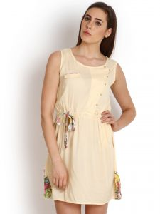 "Hoop,Unimod,Kiara,Oviya,Soie Women's Clothing - Soie Women""s Shift Yellow Dress(Product Code)_5519 (B)Yellow_"
