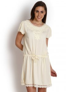 "Soie,Unimod,Vipul,Kaamastra,Diya Women's Clothing - Soie Women""s Gathered White Dress(Product Code)_5520Off White_"