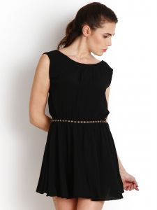 "Soie,Unimod,Surat Tex,Flora Women's Clothing - Soie Women""s Shift Black Dress(Product Code)_5524 (B)Black_"