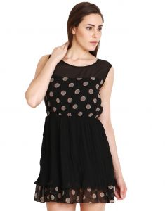 "soie Western Dresses - Soie Women""s Gathered Black Dress(Product Code)_5527Print_"