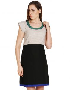 "Soie Women""s Sheath Green, Beige Dress(product Code)_5534beige_"