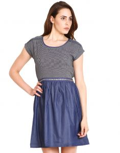 "Hoop,Shonaya,Soie,Platinum,Surat Diamonds Women's Clothing - Soie Women""s Gathered Blue Dress(Product Code)_5535Black_"