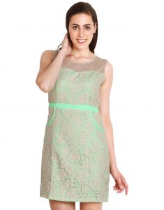 "Soie Women""s Sheath Green Dress(product Code)_5539neon Green_"