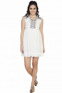 "soie,flora,oviya Western Dresses - Soie Women""s A-Line White Dress(Product Code)_5542Off White_"