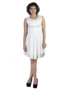"Soie Women""s A-line White Dress(product Code)_5551off White_"