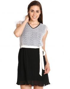 "Soie Women""s A-line Dress(product Code)_5554black+white_"