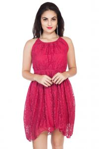 "soie,unimod Western Dresses - Soie Women""s Gathered Pink Dress(Product Code)_5555Pink_"