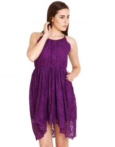 "Lime,Surat Tex,Soie,Jagdamba Women's Clothing - Soie Women""s Gathered Purple Dress(Product Code)_5555Purple_"
