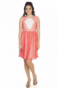 "Soie Women""s Gathered Pink, White Dress(product Code)_5556pink_"