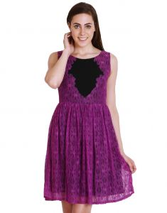 "Soie,Unimod,Oviya,Lime,Clovia,Avsar Women's Clothing - Soie Women""s Gathered Purple Dress(Product Code)_5556Purple_"