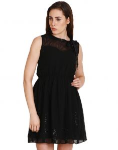 "Hoop,Unimod,Oviya,Surat Tex,Soie,Mahi,Sangini,The Jewelbox Women's Clothing - Soie Women""s Gathered Black Dress(Product Code)_5558Black_"