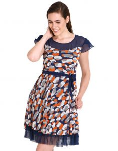 "Soie,Unimod,Oviya,Lime,Clovia,Avsar,Sukkhi,Jagdamba Women's Clothing - Soie Women""s A-Line Dark Blue Dress(Product Code)_5562 (B)Print_"