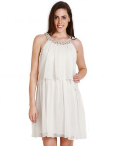 "Surat Tex,Soie,Avsar Women's Clothing - Soie Women""s A-Line White Dress(Product Code)_5568Off White_"