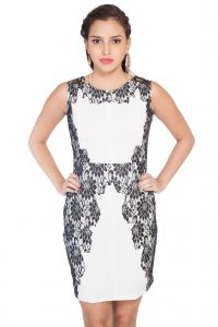 Soie Polyester Blend Pencil Dress, Lace Applique .(product Code)_5581off White_