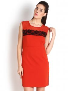 Soie,Unimod,Valentine,Surat Diamonds Women's Clothing - Soie Polyester Blend Pencil Dress, Contrast Lace Detailing & Beads Embellishment.(Product Code)_5584Orange_